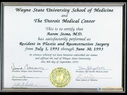 Plastic Surgery Residency Certificate